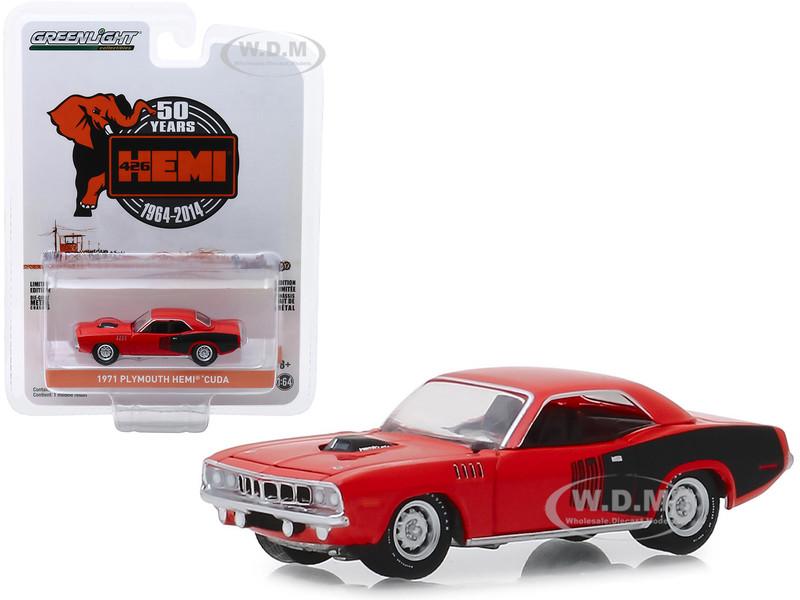 1971 Plymouth HEMI Barracuda Red Black Stripes 426 HEMI 50 Years 1964 2014 Anniversary Collection Series 9 1/64 Diecast Model Car Greenlight 28000 E