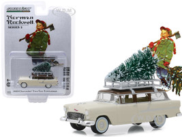 1955 Chevrolet Two-Ten Townsman Roof Rack Christmas Tree Accessory Cream Brown Top Norman Rockwell Series 2 1/64 Diecast Model Car Greenlight 54020 B