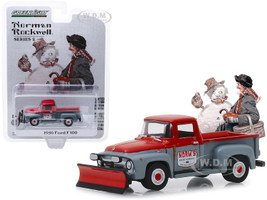1956 Ford F-100 Pickup Truck Snow Plow Red Gray Norm's Snow Removal Norman Rockwell Series 2 1/64 Diecast Model Car Greenlight 54020 C