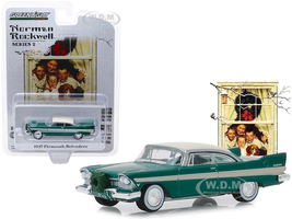 1957 Plymouth Belvedere Wreath Accessory Green Cream Top Norman Rockwell Series 2 1/64 Diecast Model Car Greenlight 54020 D