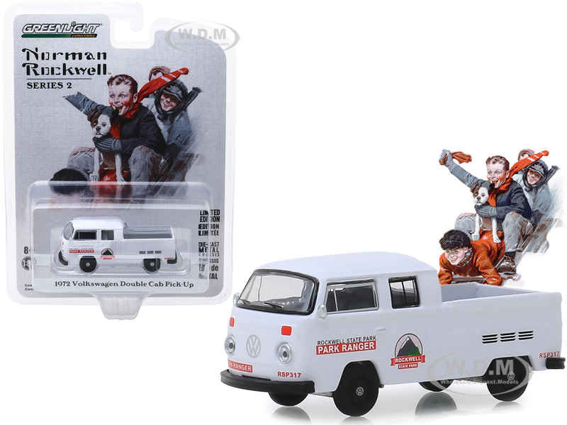 1972 Volkswagen Double Cab Pickup Truck White Rockwell State Park Norman Rockwell Series 2 1/64 Diecast Model Car Greenlight 54020 E