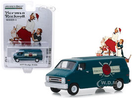 1977 Dodge B-100 Van Nordic Dark Blue Percy's Threads Norman Rockwell Series 2 1/64 Diecast Model Car Greenlight 54020 F