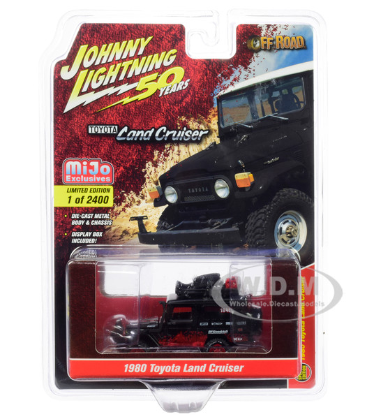 1980 Toyota Land Cruiser Matt Black Red Accessories Off Road Johnny Lightning 50th Anniversary Limited Edition 2400 pieces Worldwide 1/64 Diecast Model Car Johnny Lightning JLCP7236