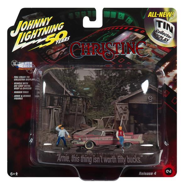 1958 Plymouth Fury Dirty Version Arnie Dennis Figures Christine 1983 Movie Diorama Johnny Lightning 50th Anniversary 1/64 Diecast Model Car Johnny Lightning JLDR010 JLSP079