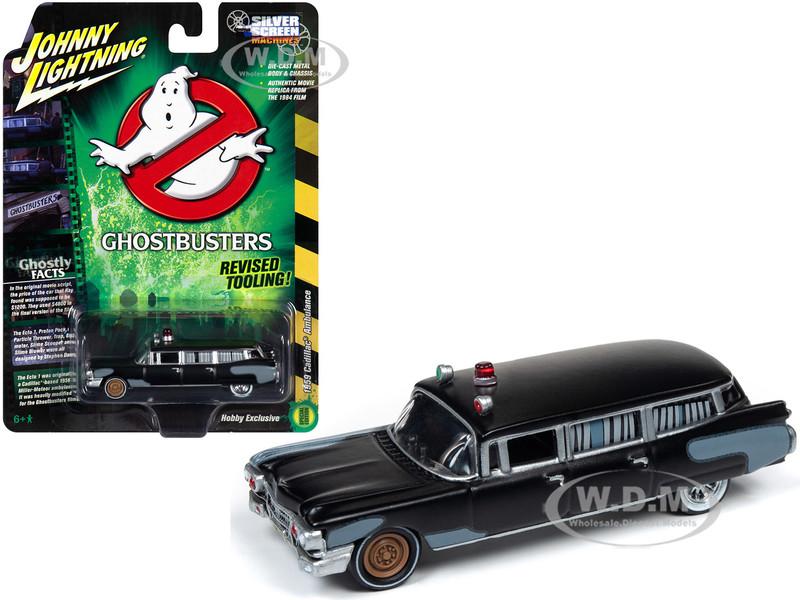 1959 Cadillac Eldorado Ambulance Black Ghostbusters 1984 Movie 1/64 Diecast Model Car Johnny Lightning JLSS005