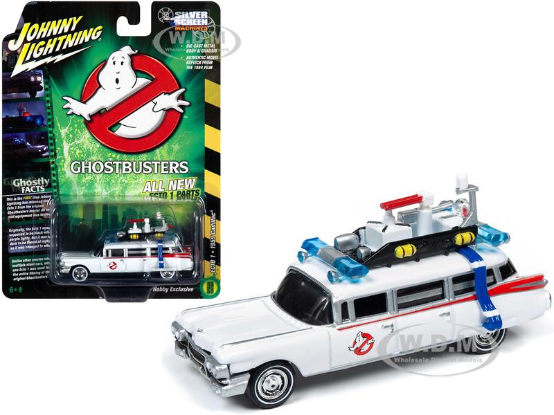1959 Cadillac Eldorado ECTO-1 Ambulance White Ghostbusters 1984 Movie 1/64 Diecast Model Car Johnny Lightning JLSS006