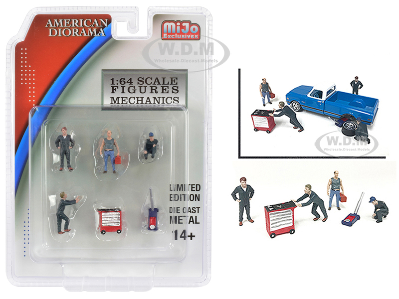 Mechanics Diecast Set of 6 pieces 4 Figurines 2 Accessories 1/64 Scale Models American Diorama 38401