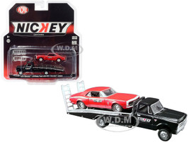 1967 Chevrolet C-30 Ramp Truck Black 1967 Chevrolet Camaro Red Nickey Performance Acme Exclusive 1/64 Diecast Model Cars Greenlight ACME 51270