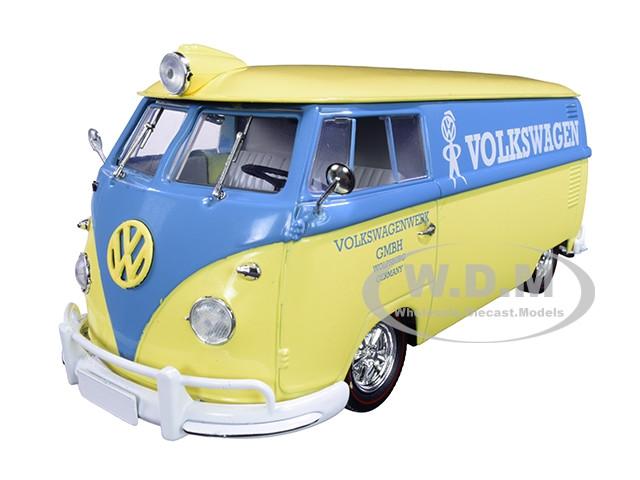 1960 Volkswagen Delivery Van Yukon Yellow Dove Blue Stripe Volkswagenwerk GMBH Limited Edition 5880 pieces Worldwide 1/24 Diecast Model M2 Machines 40300-76 B