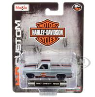 1987 Chevrolet Silverado 1500 Pickup Truck Bed Cover Silver Black Orange Stripes Harley Davidson H-D Custom 1/64 Diecast Model Car Maisto 15380-19 B