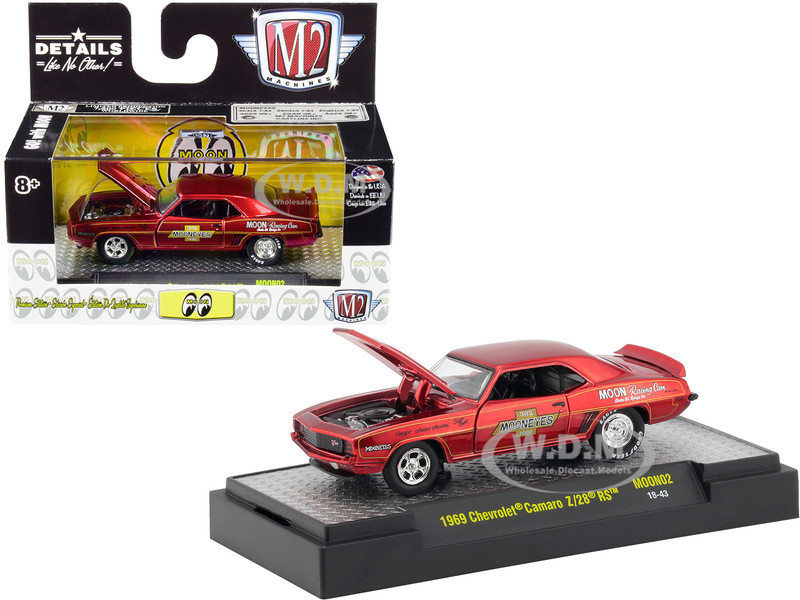1969 Chevrolet Camaro Z/28 RS Satin Red Mooneyes Limited Edition 7200 pieces Worldwide 1/64 Diecast Model Car M2 Machines 32500-MOON02-S1