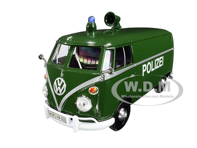Volkswagen Type 2 T1 Police Van Polizei Dark Green 1/24 Diecast Model Car Motormax 79574