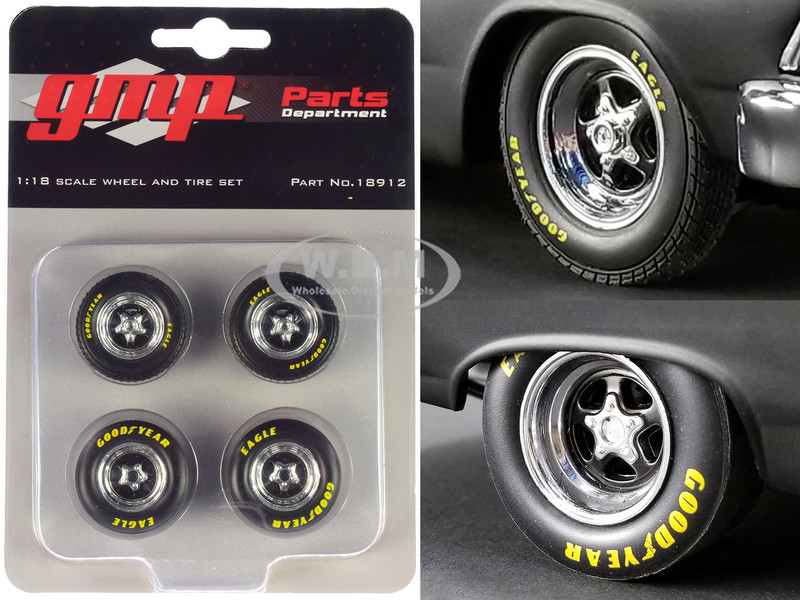 Pro Star 5-Spoke Drag Wheels Tires Set 4 pieces from Pork Chop's 1966 Ford Fairlane 1/18 GMP 18912