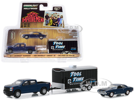 2019 Chevrolet Silverado Pickup Truck with 1969 Chevrolet Camaro SS and Enclosed Car Hauler Home Improvement 1991 1999 TV Series Hollywood Hitch and Tow Series 7 1/64 Diecast Model Cars Greenlight 31080 C
