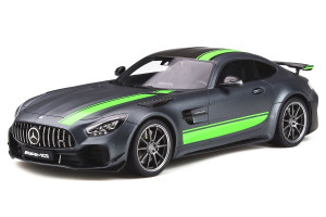 Mercedes Benz AMG GT-R Pro Matt Gray Carbon Top Green Stripes 1/18 Model Car GT Spirit GT265