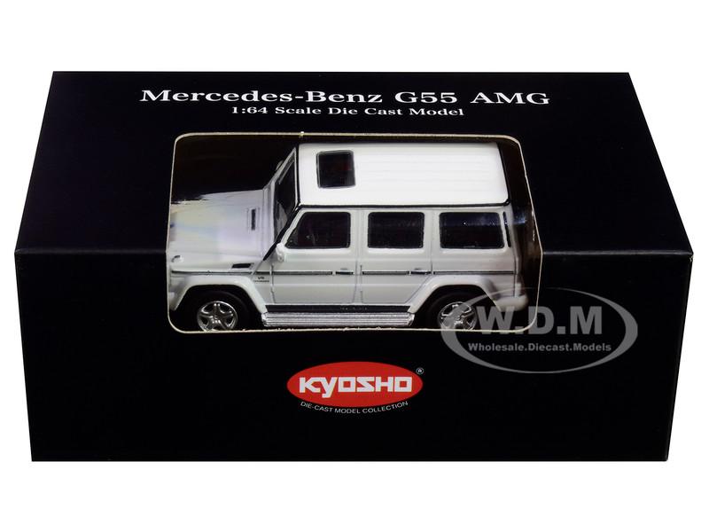 Mercedes Benz G55 AMG White 1/64 Diecast Model Car Kyosho K07021G2