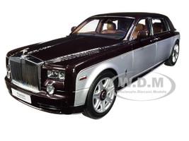 Rolls Royce Phantom Extended Wheelbase Dark Red Silver 1/18 Diecast Model Car Kyosho 08841 DRB