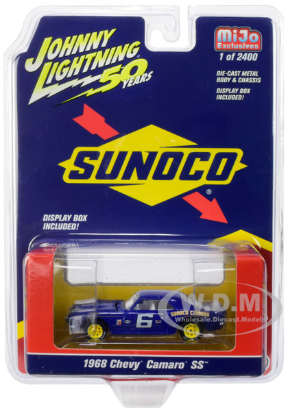 1968 Chevrolet Camaro SS #6 Sunoco Dark Blue Limited Edition 2400 pieces Worldwide 1/64 Diecast Model Car Johnny Lightning JLCP7239