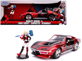 1969 Chevrolet Corvette Stingray Harley Quinn Diecast Figure DC Comics Series 1/24 Diecast Model Car Jada 31196