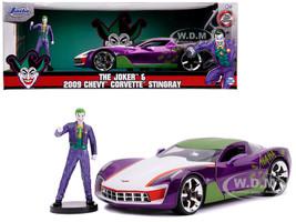 2009 Chevrolet Corvette Stingray Joker Diecast Figure DC Comics Series 1/24 Diecast Model Car Jada 31199