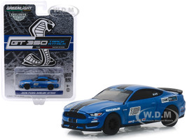2016 Ford Mustang Shelby GT350 #12 Deep Impact Blue Black Stripes Ford Performance Racing School GT350 Track Attack Hobby Exclusive 1/64 Diecast Model Car Greenlight 30109