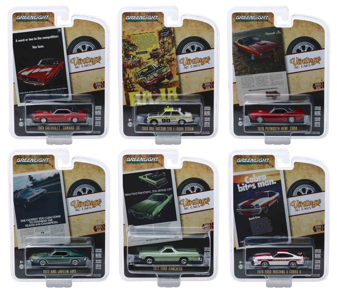 Vintage Ad Cars Series 1 6 piece Set 1/64 Diecast Model Cars Greenlight 39020