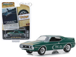 1972 AMC Javelin AMX Green Gold Stripes The Closest You Can Come To Owning The Trans-Am Champion Vintage Ad Cars Series 1 1/64 Diecast Model Car Greenlight 39020 D