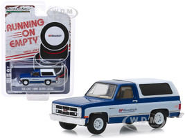 1983 GMC Jimmy Sierra Classic Pickup Truck Camper Shell Blue BFGoodrich Running on Empty Series 9 1/64 Diecast Model Car Greenlight 41090 F