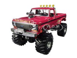 1979 Ford F-250 Ranger XLT Monster Truck High Roller II Burgundy 48-Inch Tires Kings of Crunch 1/18 Diecast Model Car Greenlight 13542