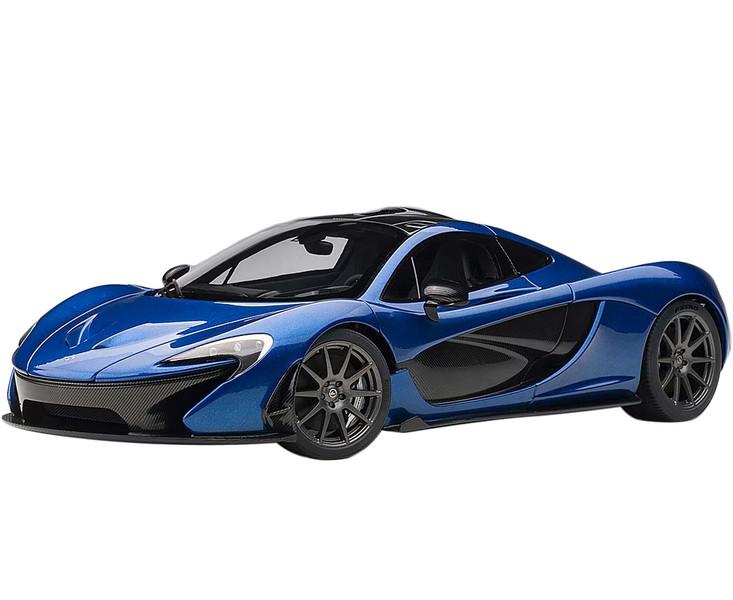 McLaren P1 Azure Blue Metallic Dark Blue Carbon Fiber 1/18 Model Car Autoart 76061
