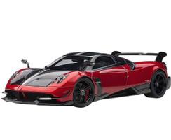 Pagani Huayra BC Rosso Dubai Red Metallic Carbon Fiber Silver Stripe 1/18 Model Car Autoart 78276