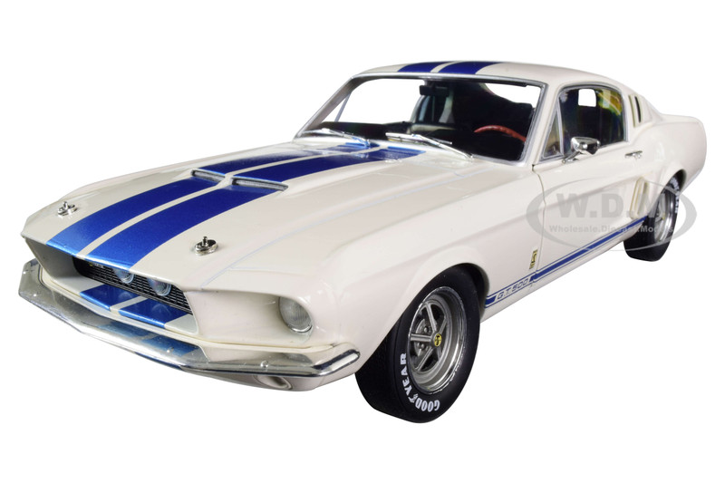 1967 Ford Mustang Shelby GT500 White Light Blue Stripes 1/18 Diecast Model Car Solido S1802901