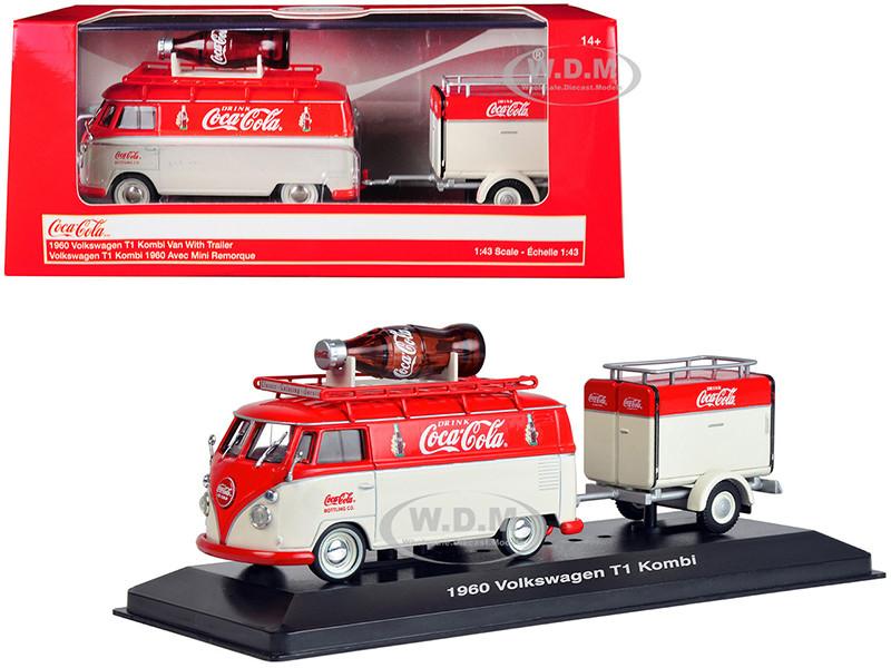 1960 Volkswagen T1 Kombi Van Trailer Red Cream Coca Cola 1/43 Diecast Model Car Motorcity Classics 443060