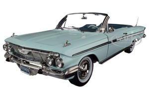 1961 Chevrolet Impala Open Convertible Seafoam Green 1/18 Diecast Model Car SunStar 3409