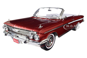 1961 Chevrolet Impala Open Convertible Honduras Maroon 1/18 Diecast Model Car SunStar 3410