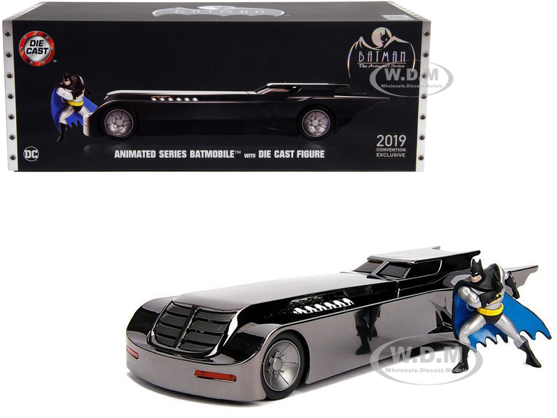 Chrome Batmobile Batman Diecast Figurine Animated Series DC Comics 2019 San Diego Comic Con Exclusive Limited Edition 1/24 Diecast Model Car Jada 30700