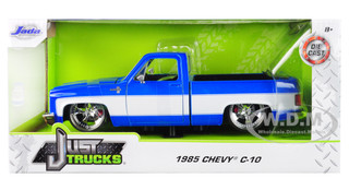 1985 Chevrolet Silverado C-10 Pickup Truck Custom Wheels Blue White Just Trucks 1/24 Diecast Model Car Jada 31606
