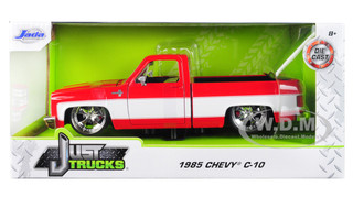 1985 Chevrolet Silverado C-10 Pickup Truck Custom Wheels Red White Just Trucks 1/24 Diecast Model Car Jada 31608