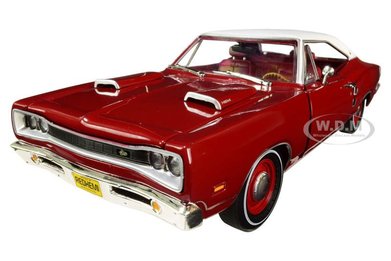 1969 Dodge Super Bee Hardtop Dark R6 Red White Top Class of 1969 1/18 Diecast Model Car Autoworld AMM1191