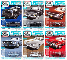 Autoworld Muscle Cars Premium 2019 Release 4 Set B 6 pieces 1/64 Diecast Model Cars Autoworld 64232 B