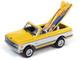 1970 Chevrolet Blazer Convertible Pickup Truck Yellow White Surf Boards Surf Shop Front Facade Diorama Set American Snapshots 1/64 Diecast Model Car Johnny Lightning JLDR005