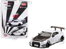 Nissan GT-R R35 Type 2 LB Works LibertyWalk Rear Wing White Carbon Fiber Hood Limited Edition 3600 pieces Worldwide 1/64 Diecast Model Car True Scale Miniatures MGT00068