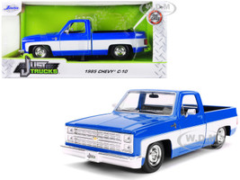1985 Chevrolet Silverado C-10 Pickup Truck Stock Wheels Blue White 1/24 Diecast Model Car Jada 31606