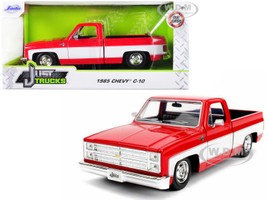 1985 Chevrolet Silverado C-10 Pickup Truck Stock Wheels Red White Just Trucks 1/24 Diecast Model Car Jada 31608