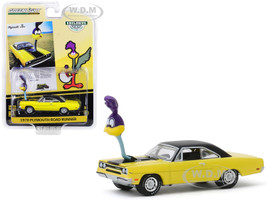 1970 Plymouth Road Runner Yellow Black Top The Loved Bird Road Runner Air Grabber Figure Hobby Exclusive 1/64 Diecast Model Car Greenlight 30088
