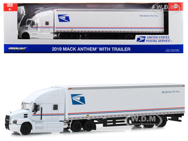 2019 Mack Anthem 18 Wheeler Tractor Trailer USPS United States Postal Service We Deliver For You 1/64 Diecast Model Greenlight 30090