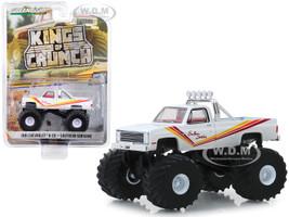 1981 Chevrolet K-20 Silverado Monster Truck Southern Sunshine White Stripes Kings of Crunch Series 5 1/64 Diecast Model Car Greenlight 49050 D