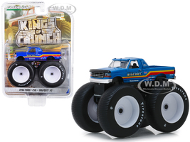 1996 Ford F-250 Monster Truck Bigfoot #7 Metallic Blue Stripes Kings of Crunch Series 5 1/64 Diecast Model Car Greenlight 49050 F