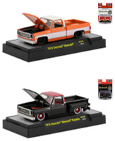 1973 Chevrolet Silverado Square Body Metallic Orange 1974 Chevrolet Silverado Stepside Square Body Black Set 2 Pickup Trucks Limited Edition 3600 pieces Worldwide 1/64 Diecast Model Cars M2 Machines 31500-MJS19 31500-MJS20