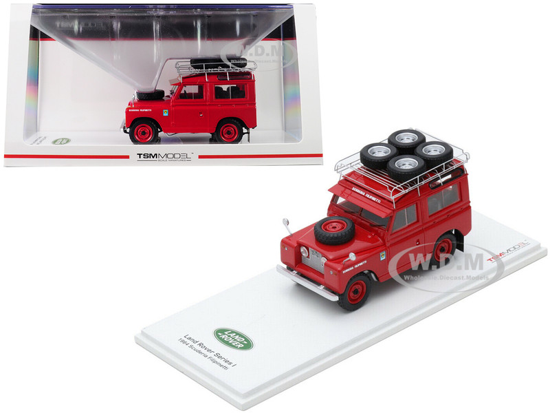 1964 Land Rover Series I Scuderia Filipinetti Red Roof Rack Tires 1/43 Model Car True Scale Miniatures 430274